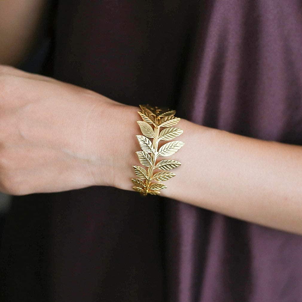 Hynsin Leaves Jewelry Gold Color Women Wide Bracelet /& Bangle Bride Wedding Anniversary Party Gifts