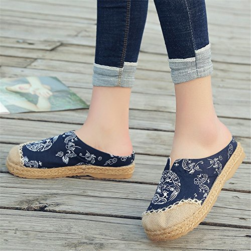 Loafers Bottom Espadrilles HUAN Lino A Donna Shoes Pantofole da Flat Oxford Canvas wCwvfFq