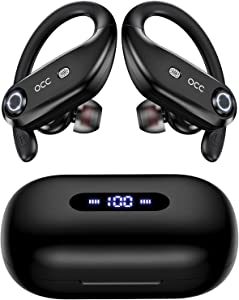 Bluetooth Headphones 4-Mics Call Noise Reduction 64Hrs Occiam Wireless Earbuds IPX7 Waterproof Over Ear Earphones with 2200mAh Charging Case as Power Bank for Sports Running Workout Gaming