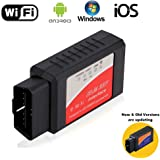 Car OBD 2 OBD2 Scan Tool ELM327 WIFI Vehicle Fault Code Reader OBDII Scanner Adapter Auto Check Engine Light Clear Wireless Diagnostic Tool for iPhone IOS Android Windows Apple for Cars