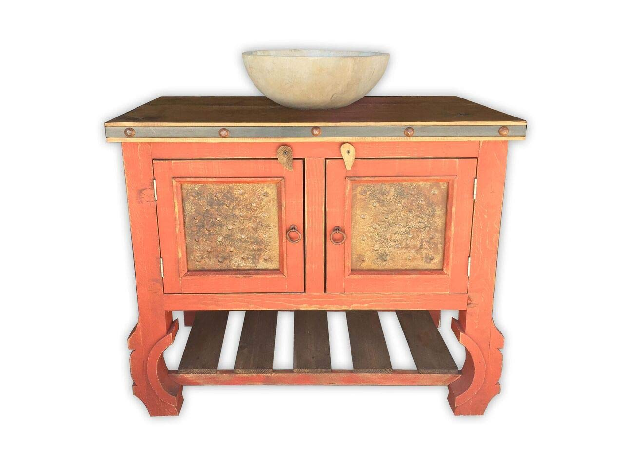 San Francisco Vanity with Metal Panels, 36'', Vintage Red by Rancho Collection