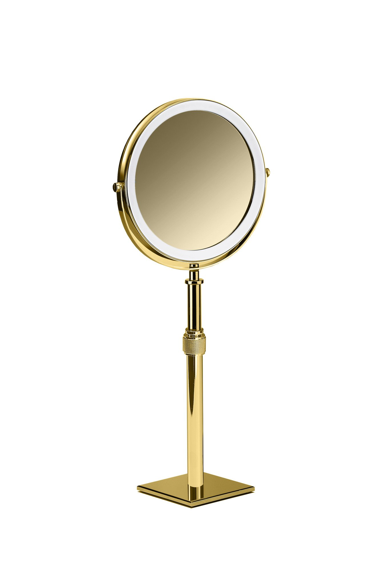 DWBA Table Height Adjustable Cosmetic Makeup 5x Magnifying Mirror (Polished Gold)