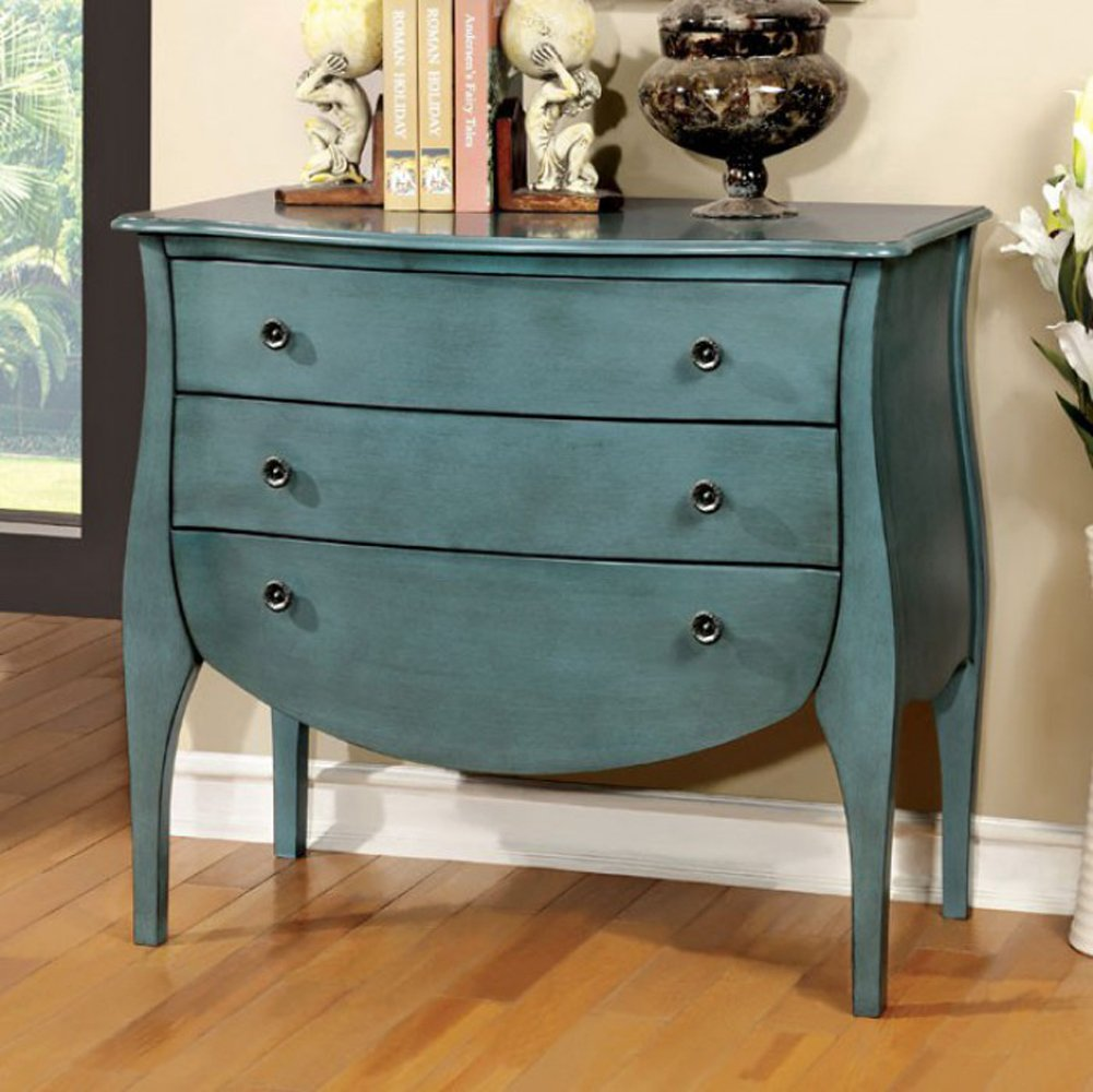 Furniture of America CM-AC139BL Havre Blue 3 Drawer Chest by Furniture of America