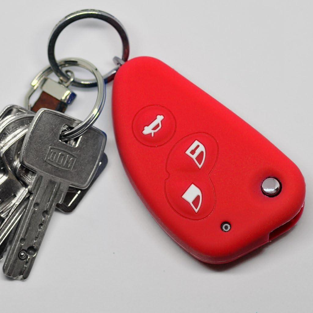 Soft Case Cubierta de protección Llave para Coche 3 Llaves Alfa Romeo 156 147 GT 97-10 / Color Rojo
