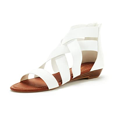 950184d2a4 Dream Pairs Women's ELASTICA8 White Elastic Ankle Strap Flat Sandals Size  11 ...