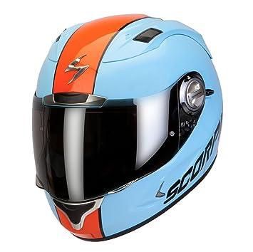 Amazon.es: Casco integral Moto Scorpion Exo 1000 Air Slitter Talla S con sistema Airfit Azul Naranja.