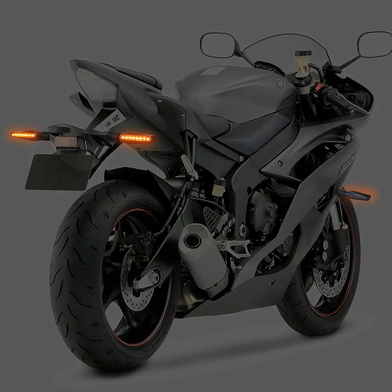 Justech 4 Pz Indicatore di Direzione a Scorrimento 12LED Mini Frecce Led Moto Luce di Direzione/Indicatore di Direzione a/Moto Ambra 12V Universale per Moto Scooter Quad Cruiser Off Road