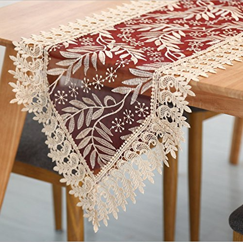 (Jasmine Embroidered Lace Elegant Water Soluble Leaves Table Runner Tablecloth and Dresser Scarves Floral Wine red 16 by 87 Inch)