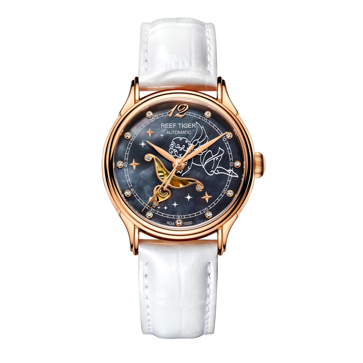 Reef Tiger Luxury Fashion Watches Women's Rose Gold Automatic Watches for Lover RGA1550