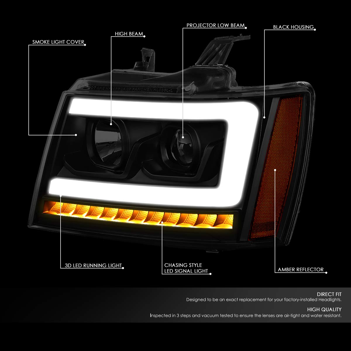 DNA Motoring HL-HPL-CSA07-BK-SM-AM LED DRL+Sequential Turn Signal Projector Headlight Headlamps