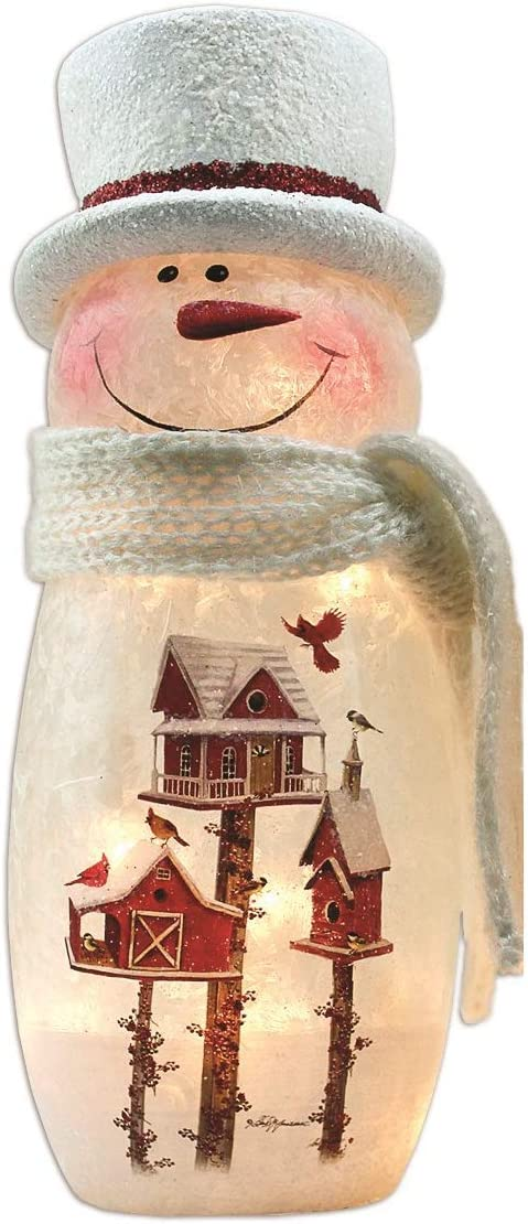 Stony Creek Lighted Vase BFN8243-Snowman with Red Houses