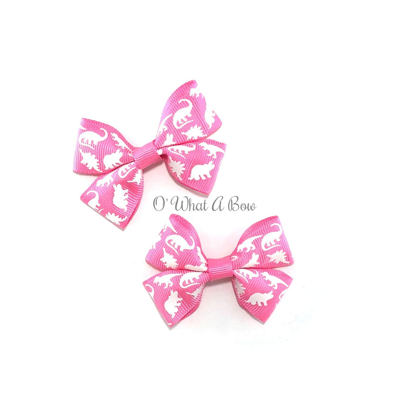 Glow in the Dark Pink Dinosaur Hair Bows set of 2