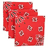 Red Bandana 3-Pack - Made in USA For 70 Years - Sold by Vets – 100% Cotton –Sewn Edges – Printed Both Sides