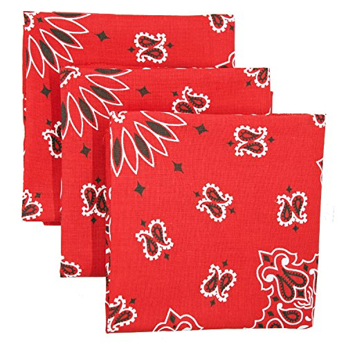 Red Bandana 3-Pack - Made in USA For 70 Years - Sold by Vets – 100% Cotton –Sewn Edges – Printed Both Sides (Cotton Paisley Headwrap)