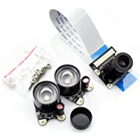 JES ov5647Sensor de 5megapíxeles soporta Visión Nocturna Adjustable-Focus Módulo de Vídeo Mini Cámara para Raspberry Pi 3Modelo B, Raspberry Pi A/A +/B/2B
