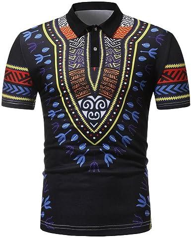 FAMILIZO Camisetas Hombre Manga Corta Africano Floral Estilo ...