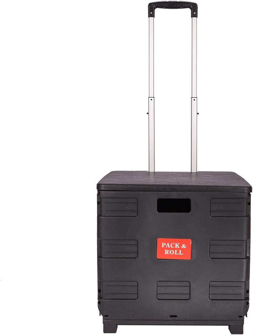 DXP Carretilla de las compras del caj/ón plegable hasta 35 kg contenedor con ruedas negro con tapa