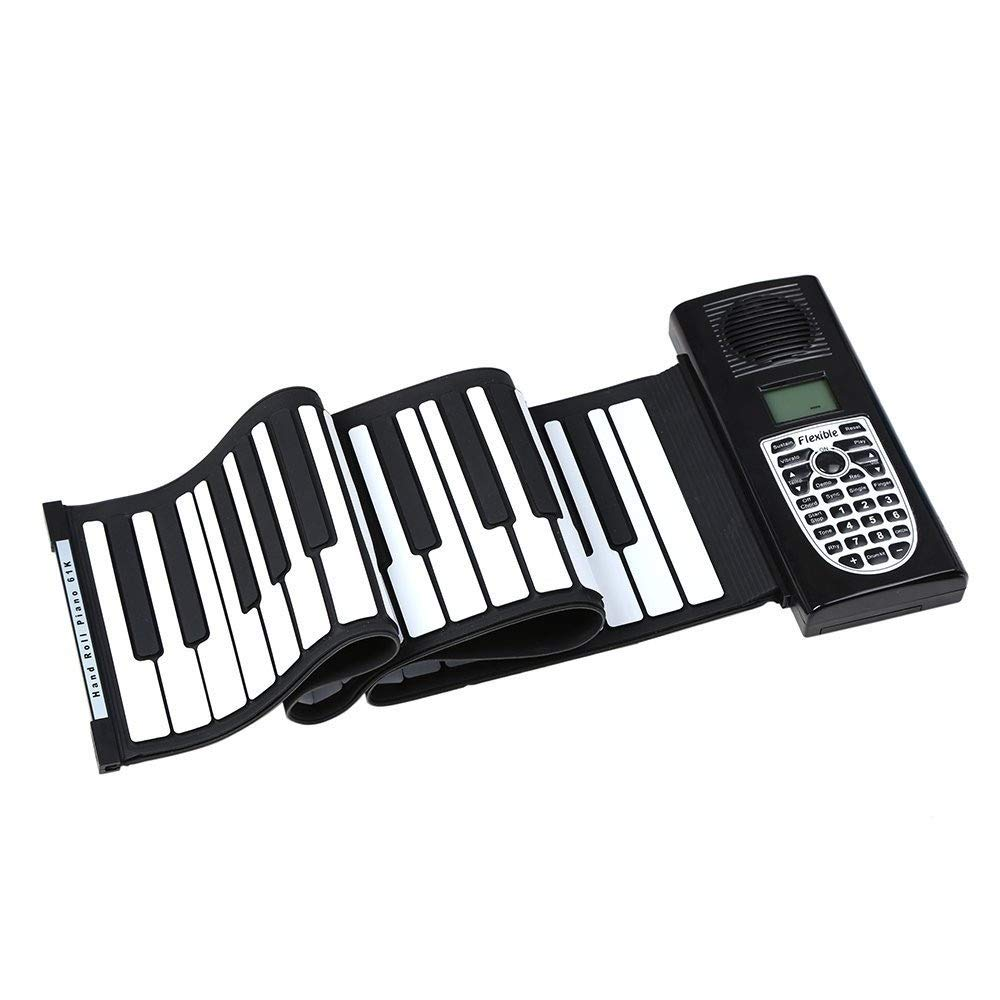 Electronic piano Electric Digital Roll Up Keyboard Piano 61 Keys Flexible Foldable Soft Silicon With Recording Programming Play Functions MIDI Output LCD Display Built-in Speaker Headphone Jack by Shenghua1979-MU