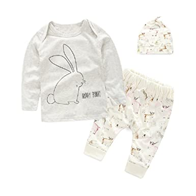 777fc4857 Unisex Newborn Baby Clothes Sets for Girl Boy Tops + Trouser + Hat ...