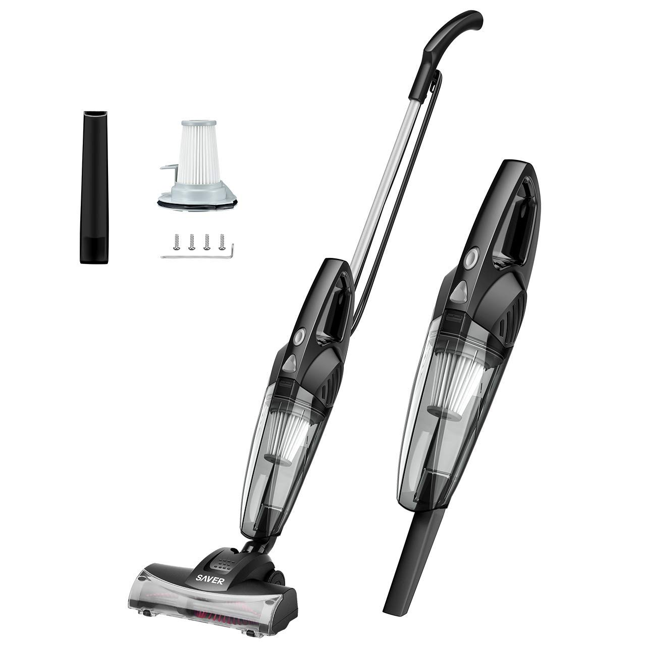 Yantop 2-in-1 Stick & Handheld Vacuum Cleaner, 15kPa Powerful Suction Hand Vacuum Lightweight Corded Pet Hair Eraser with Wheeled Turbo Brush Head for Carpet Hard Floor