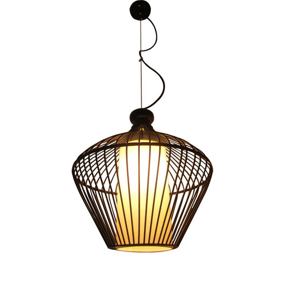 HONGOU Geometrische Lampe Mit Lampenschirm LED Kreative Kunst Eisen Vogelkäfig Decke Hängelampe E27 Bar Restaurant Cafe Kronleuchter 1 Flamme Schwarz