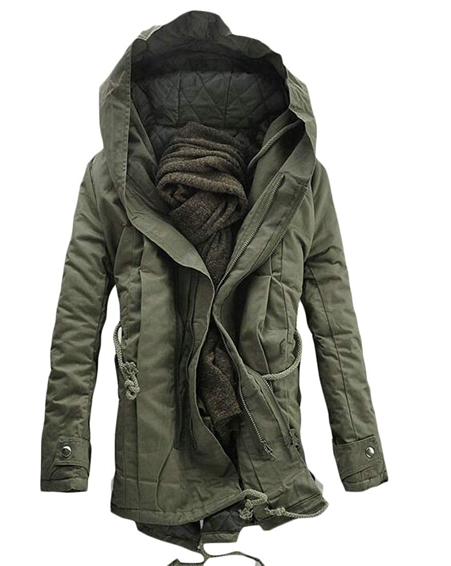 Etecredpow Mens Winter Cotton-Padded Strings Hooded Anorak Parkas Coat