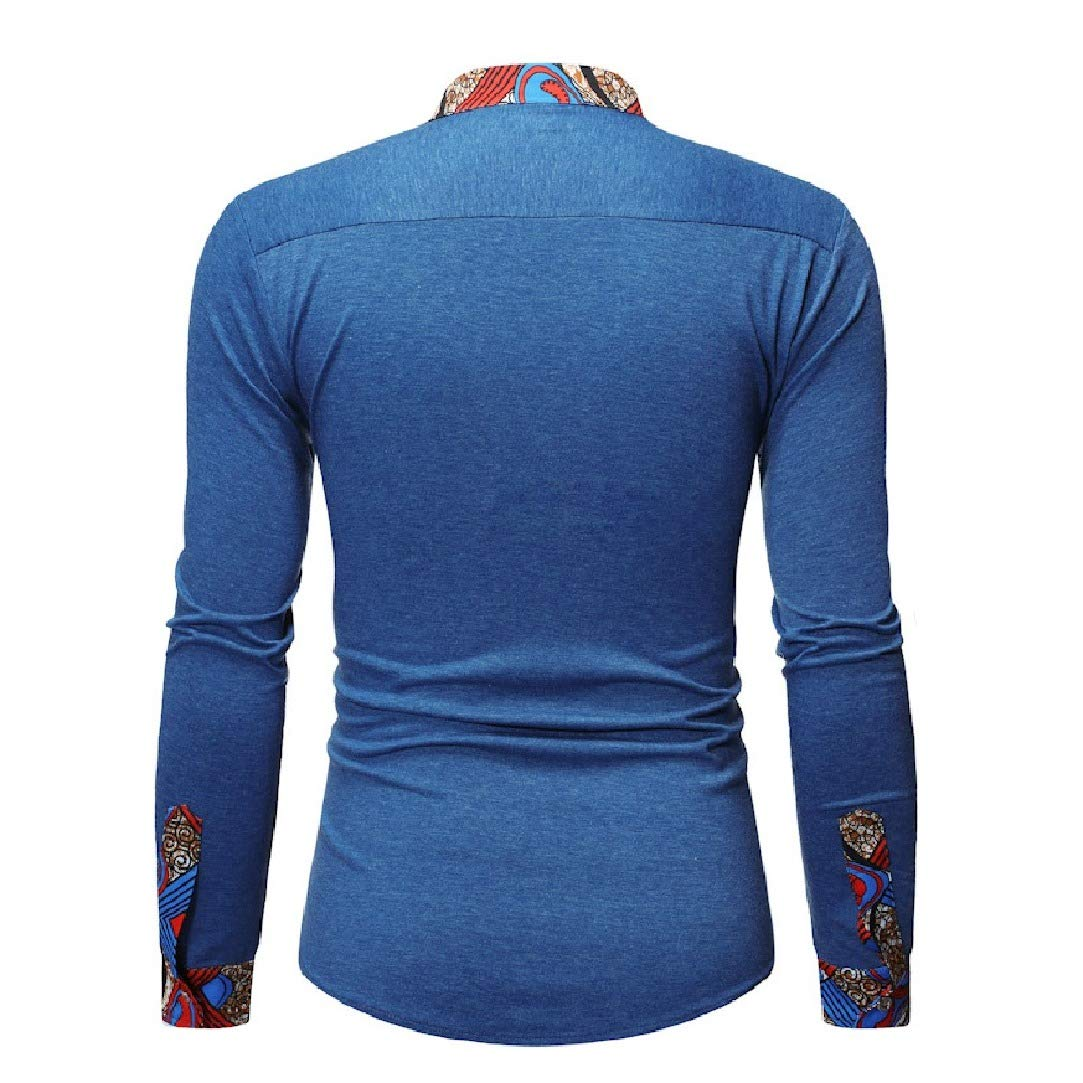 HEFASDM Men Long Sleeve Dashiki Stand Collar Silm Fit African Ethnic Style Shirt