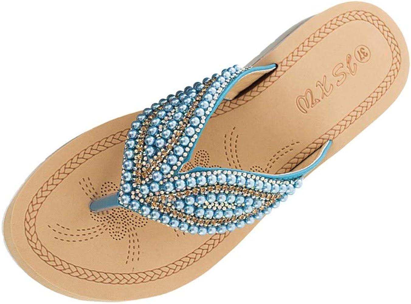 Hausschuhe Damen Bohemia Strass Zehentrenner Sandalen Sommer Flip Flops Slipper Flach Urlaub rutschfest Sommerschuhe Sandaletten Schuhe Bequeme