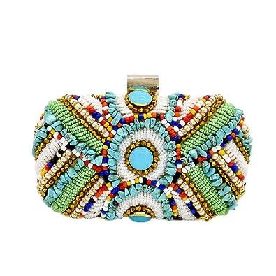 7953ef94a2 Vintage Colorful Stones Women Beaded Clutch Bag Evening Wedding Handbags  Purses