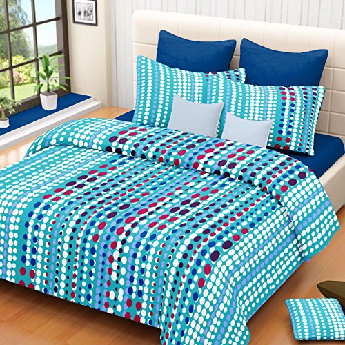Vintana Blue Cotton Double Bedsheet With 2 Pillow Covers – Round Print