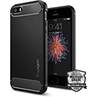 Capa para Iphone SE Rugged Armor, Spigen, Capa Anti-Impacto, Preto