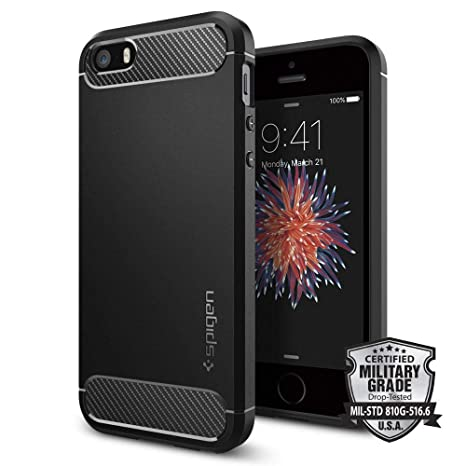 iPhone SE Hülle, Spigen® iPhone 5S/5/SE Hülle [Rugged Armor] Karbon Look [Schwarz] Elastisch Stylisch Soft Flex TPU Silikon H