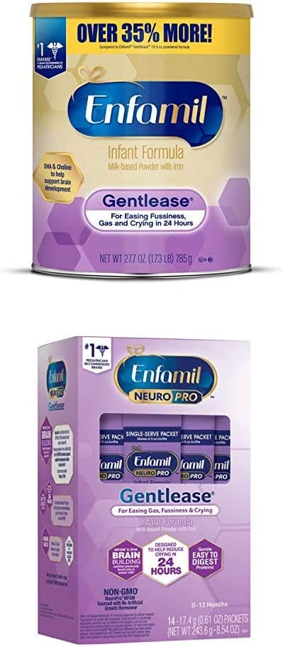 Enfamil Gentlease Easy- to-Digest Baby Formula 27.7 oz with Baby Formula Gentle Milk Powder 14 Packets per Box