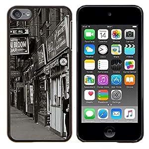 Queen Pattern - FOR Apple iPod Touch 6 6th Generation - street view shops black white retro photo - Cubierta del caso de impacto con el patr???¡¯???€????€??