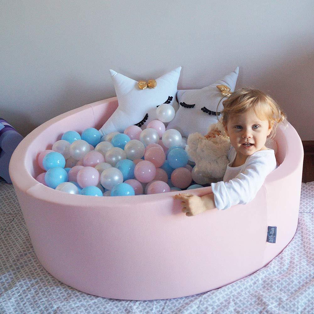 Baby Blue//Bleu//Perle KiddyMoon 50 /∅ 7Cm Balles Color/ées Plastique pour Piscine Enfant B/éb/é Fabriqu/é en EU