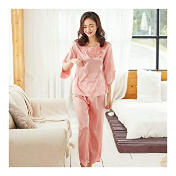 HAOLIEQUAN Pijamas Set Seda Mujer Mujer Ropa De Dormir Pantalones Largos Camisones Ropa De Dormir Rosa