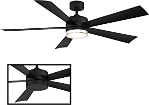 Wynd 52 in. 5 Blade Matte Black Smart Ceiling Fan with 3000K Light Kit works with iOS/Android app, Alexa, Google Assistant, SmartThings, Control4, & more
