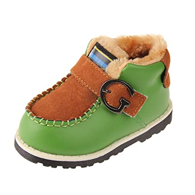 Paney Panegy Infant Boy Toddler Warm Winter Fur Boots Baby Boots US Infant 6 Green