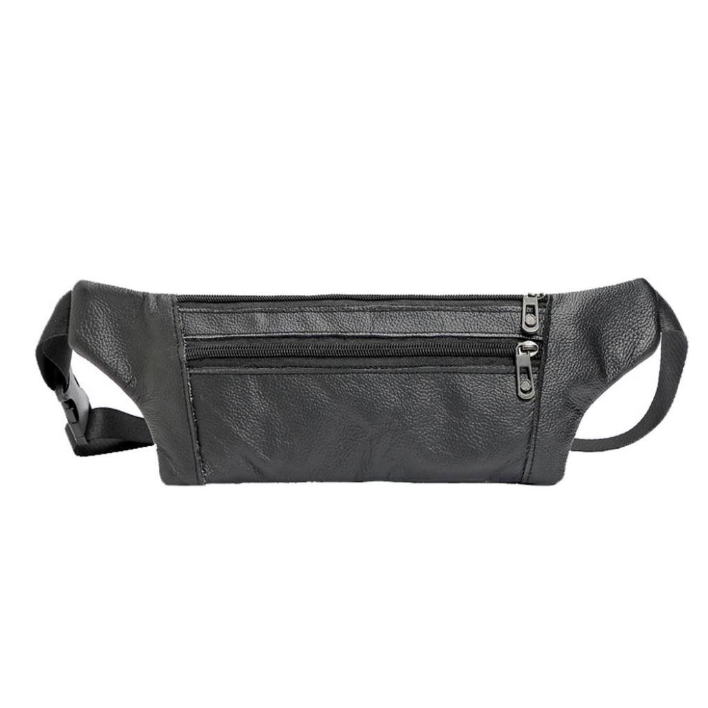 Inkach Mens Waist Fanny Pack Bags - Fashion Leather Shoulder Chest Bag Travel Belly Hip Packs Bumbag (Black)