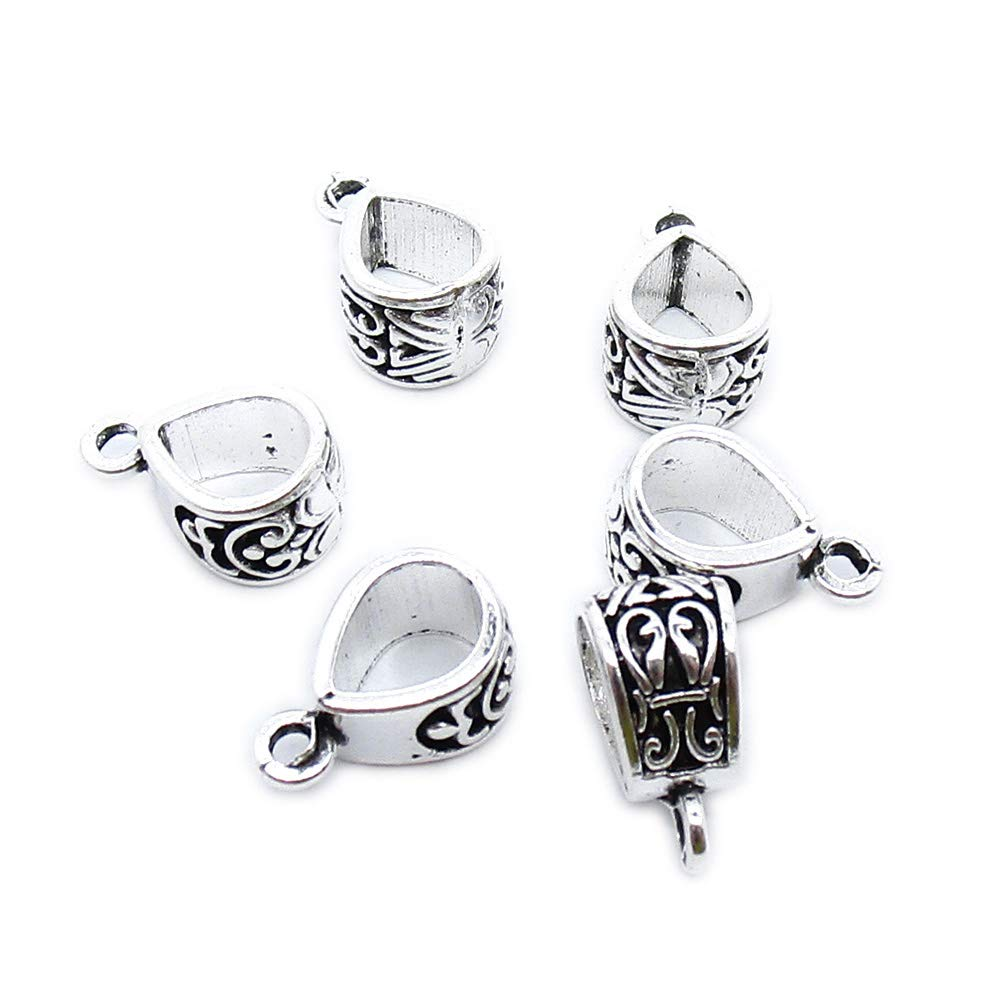 510 pcs Antique Silver Plated Jewelry Charms Findings Craft Making Vintage Beading US2T8R Bail Connector Cord Ends