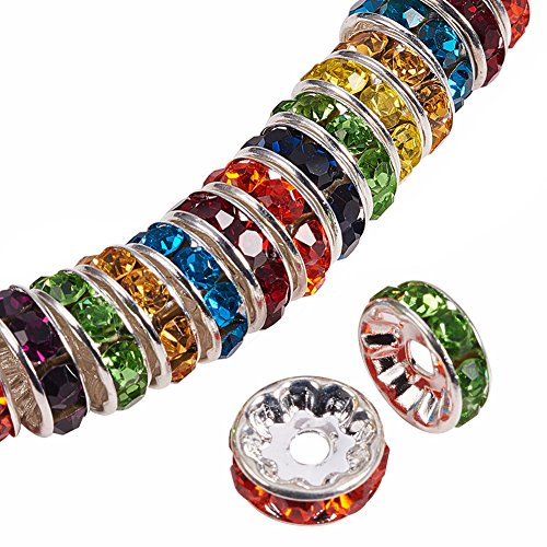 Color Mixed Beads (PandaHall Elite Brass Nickel Free Grade A Rhinestone Rondelle Spacer Beads Mixed Colors 8x3.8mm for Craft Making 50pcs/bag)