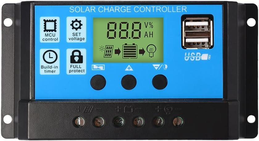 Sun3Drucker 30A Charge Controller Solar LCD Display Charge Regulator Intelligent Dual USB Port Charger 12V-24V