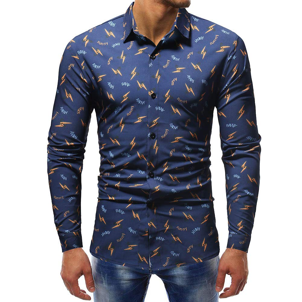 Corriee Fashion Tops for Men 2018 Long Sleeve Button Work Shirts Men's Fall Casual Slim Fitted Print Sweatshirts Blouse