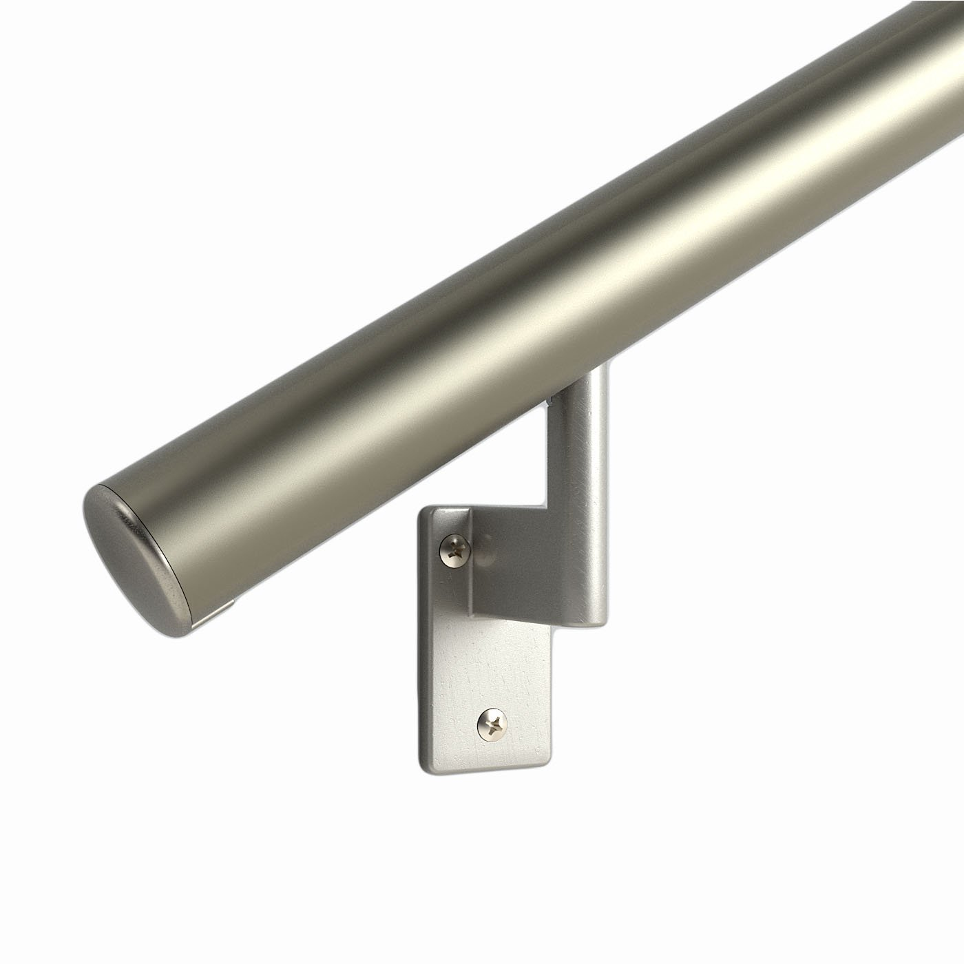 2 ft. Handrail - Complete Kit. Champagne Anodized Aluminum with 2 Matte Nickel Wall Brackets and Endcaps - 1.6'' Round