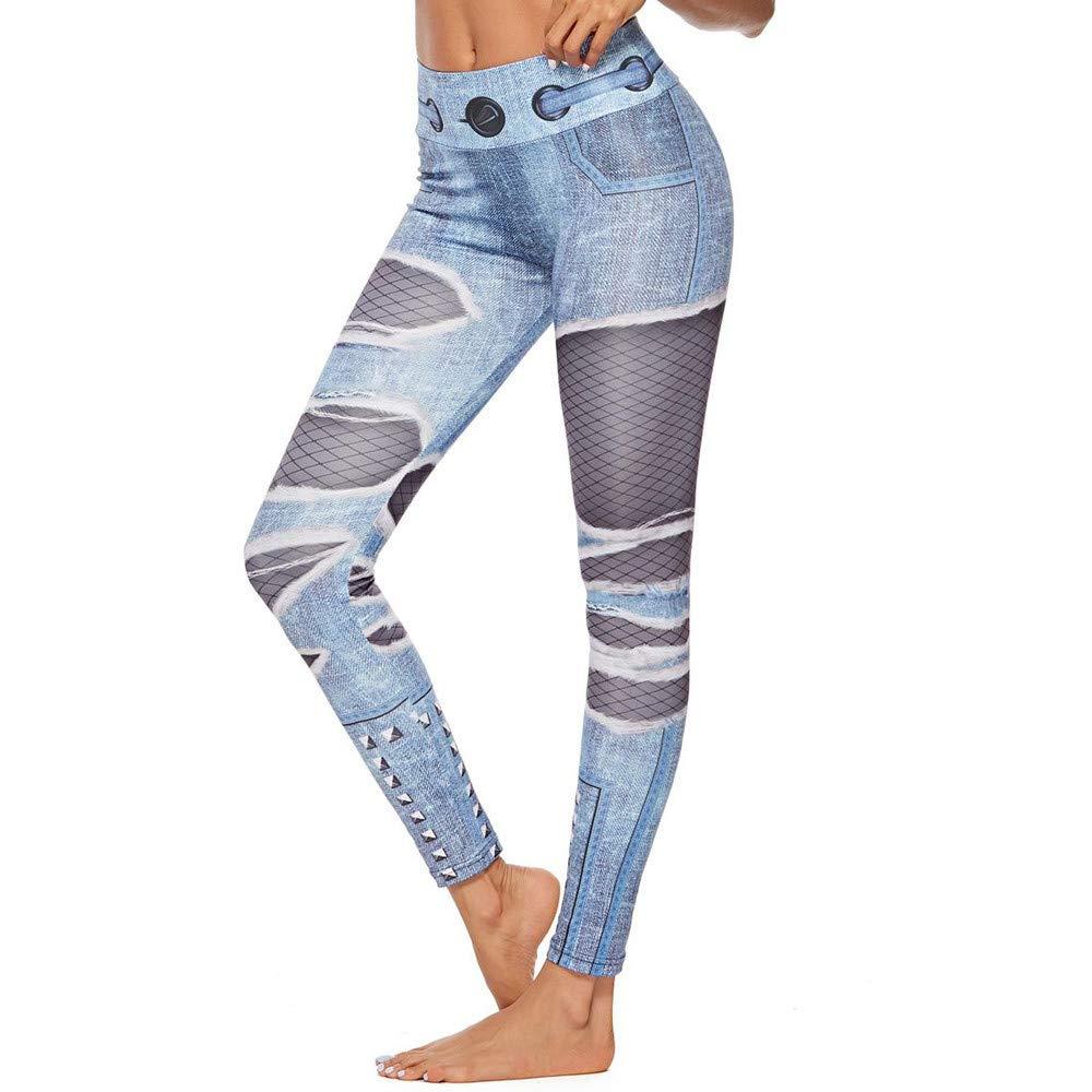 Pantaló n Deportivo de Mujer, Leggings de Fitness Mallas para Running Pilates,Yoga y Ejercicio,Estampados Malla de Agujero de Vaquero Pantalones de chá ndal Gusspower Estampados Malla de Agujero de Vaquero Pantalones de chándal Gusspower