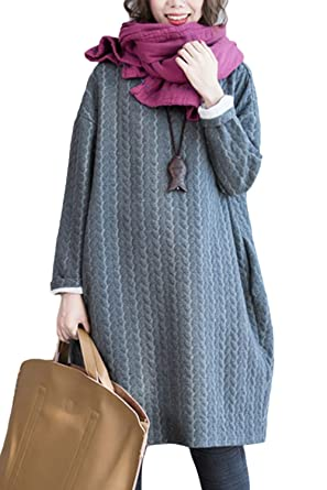 Women Winter Casual Loose Scoop Neck Baggy Dress Plus Size Dresses Grey M