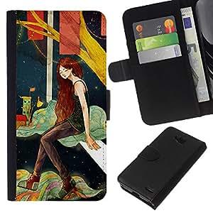 KLONGSHOP // Tirón de la caja Cartera de cuero con ranuras para tarjetas - Chica profundo solo Noche Artística - LG OPTIMUS L90 //