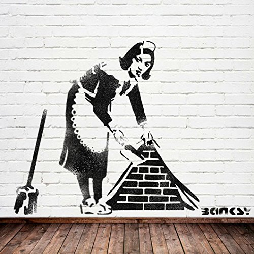 Banksy Sweeping Maid stencil wall painting art craft - Ideal Stencils (MEDIUM- 10.3 x 12.5 inches)