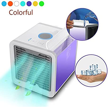Personal Space Air Cooler 3 in 1 Portable Mini Cooler, Humidifier & Purifier with 7 Colors LED Lights (White)