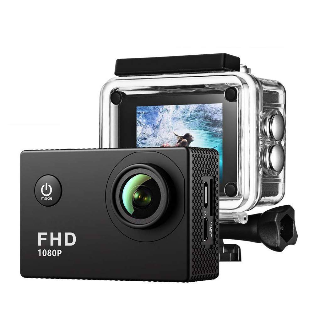 Action Sport Digital Mini Camera - Waterproof HD, Full HD 1080P 2.0 Inch LCD Display 120 Degree Wide Angle Lens Sport Recorder Car Camera with Outdoor Accessories by Enji